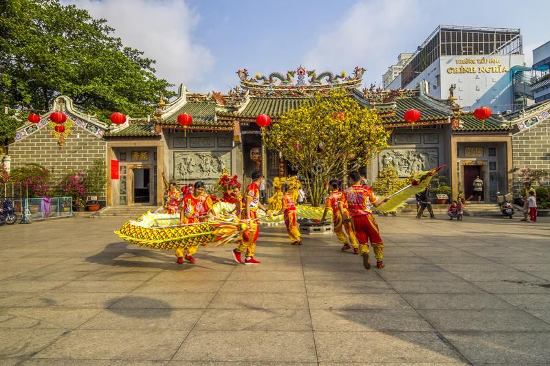 SAIGON, VIETNAM - FEB 15, 2018 - Dragon and lion dance show in chinese new year festival. royalty free stock photos