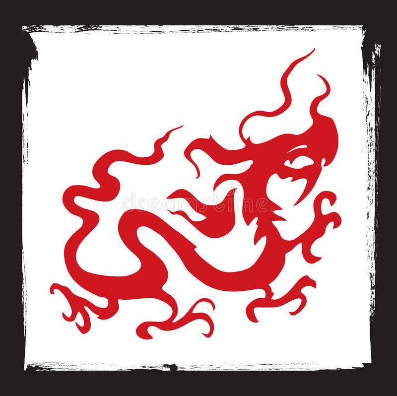 Dragon logo. Vector illustration of stylized red dragon logo and grunge black ink frame