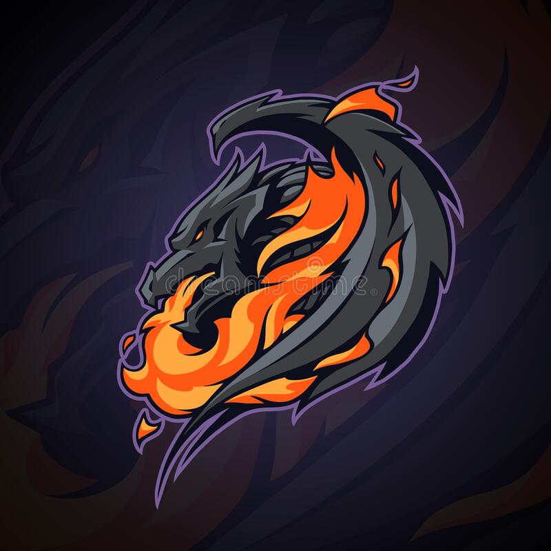 Free Dragon Logo Head Illustration With Fire Flame Royalty Free Stock Photography - 188012117