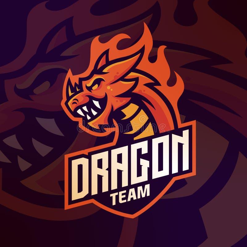 dragon logo mascot for gaming esport sport team vector template stock illustration