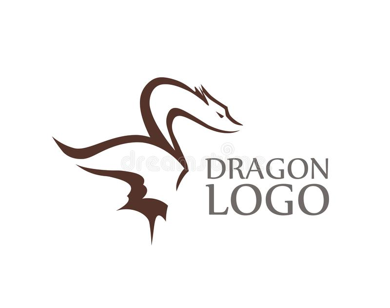 Dragon Logo with Sample of Caption isolated on white. Vector Emblem for Creative company in Modern style vector illustration