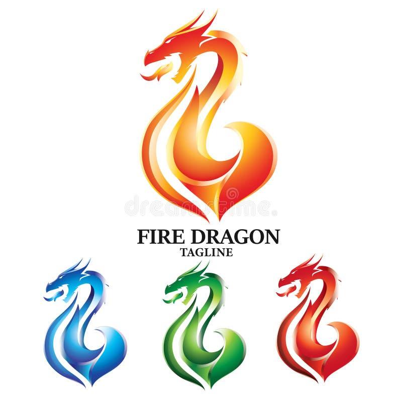 Dragon Logo Vector Concept Design ardent illustration stock