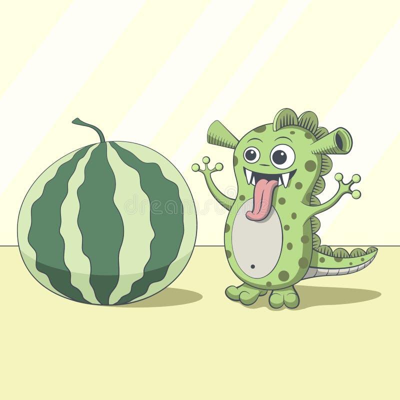 Dragon looking at watermelon. Cartoon green alien royalty free stock photo