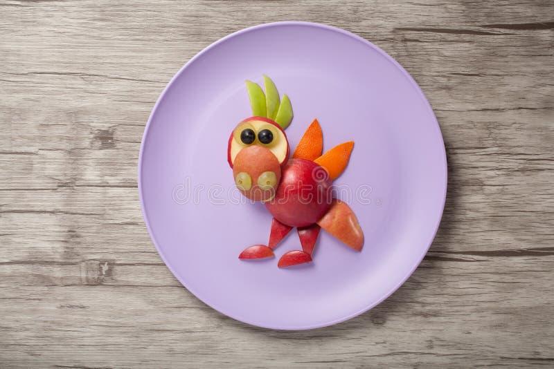 Dragon made of fruits royalty free stock photo