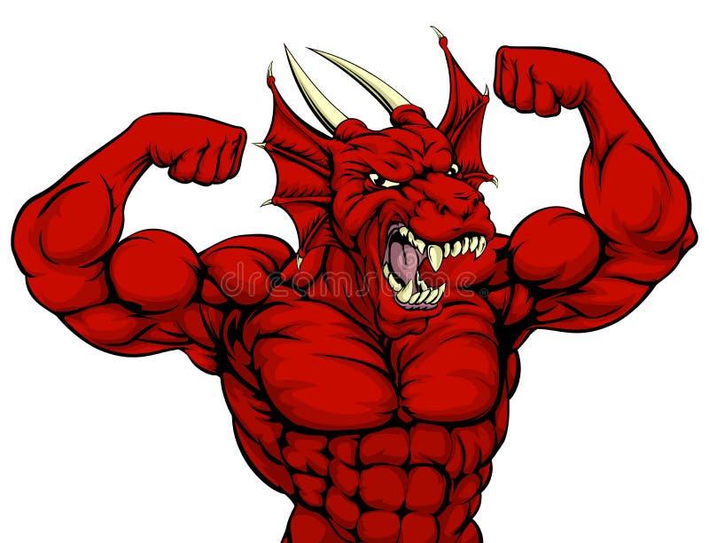 Dragon Mascot rojo duro libre illustration