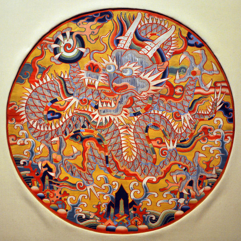 Dragon Medallion, Chinese Traditional Arts stock images