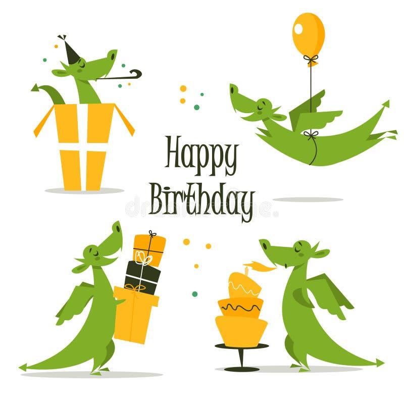 Dragon mignon célébrant l'anniversaire illustration de vecteur