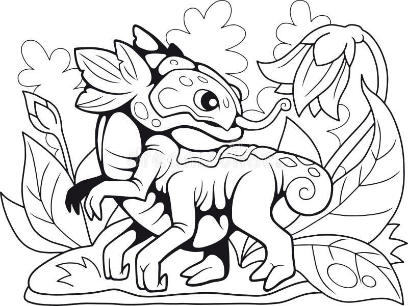 Dragon mignon de fleur, livre de coloriage, illustration drôle illustration libre de droits
