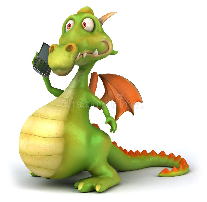 Dragon and mobile phone vector illustration