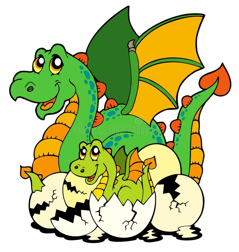 Dragon mom with baby and eggs stock illustration