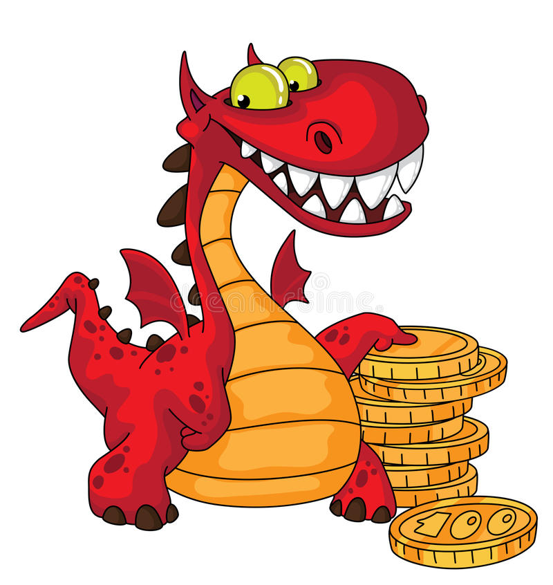 Download Dragon and money stock vector. Image of comic, cash, funny - 20570935