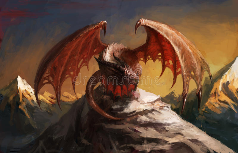 Dragon mountain royalty free illustration