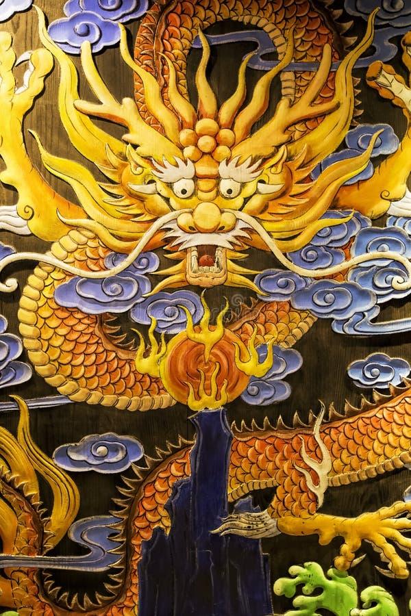 Dragon mural alone Kuanzhai Alleys, Chengdu, China stock images