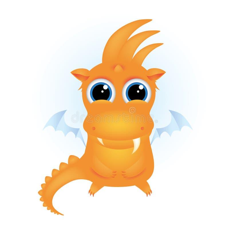 Dragon orange mignon de dessin animé illustration libre de droits