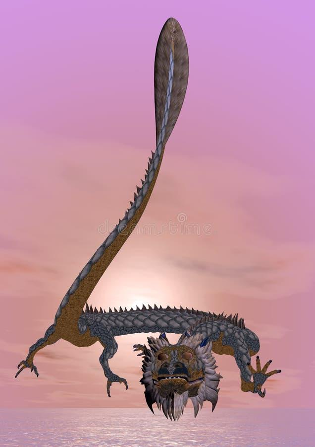 Dragon oriental - 3D rendent illustration stock