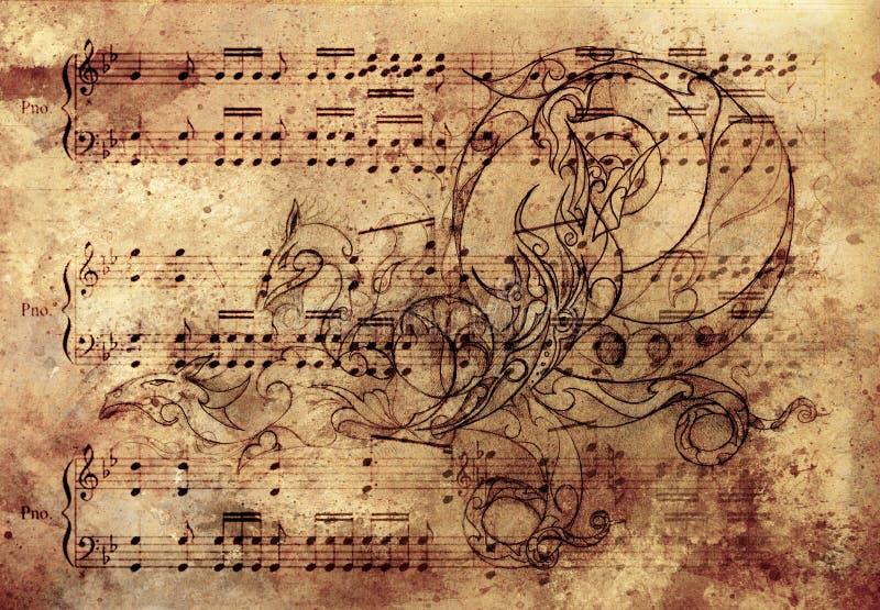 Download Dragon Ornemental, Tatouage Dessinant Au-dessus Du Papier De Vintage Et Note Musicale Illustration Stock - Illustration du clé, ramassage: 56486677