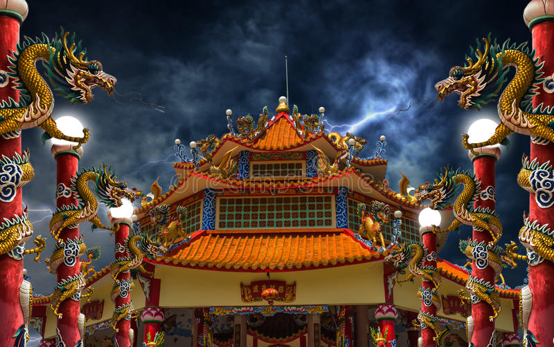 Dragon palace lightning storm royalty free stock photo