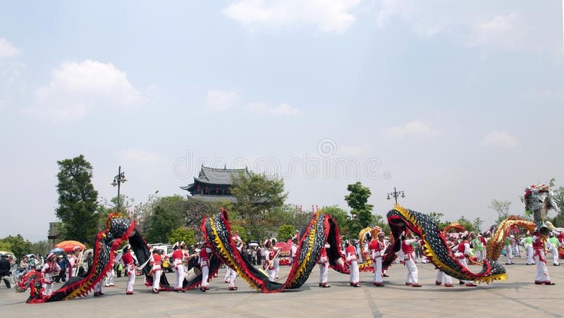 Dragon Parade and Chinese Gate royalty free stock photo