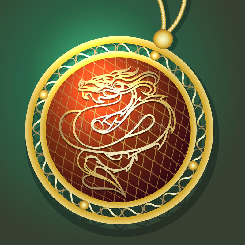 Dragon Pendant. Illustration of golden pendant with dragon drawn in medieval style royalty free illustration
