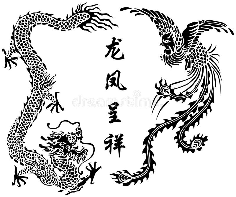 Dragon and Phoenix. Vector illustration of dragon and phoenix design in Chinese traditional style