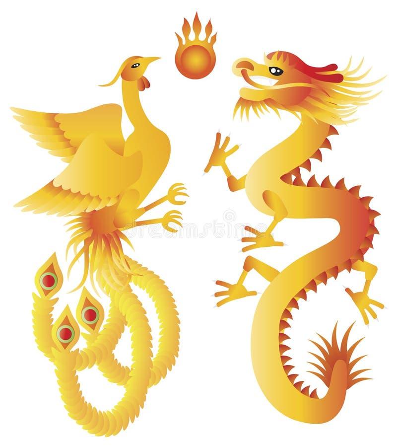 Dragon and Phoenix Chinese Symbols Illustration royalty free illustration