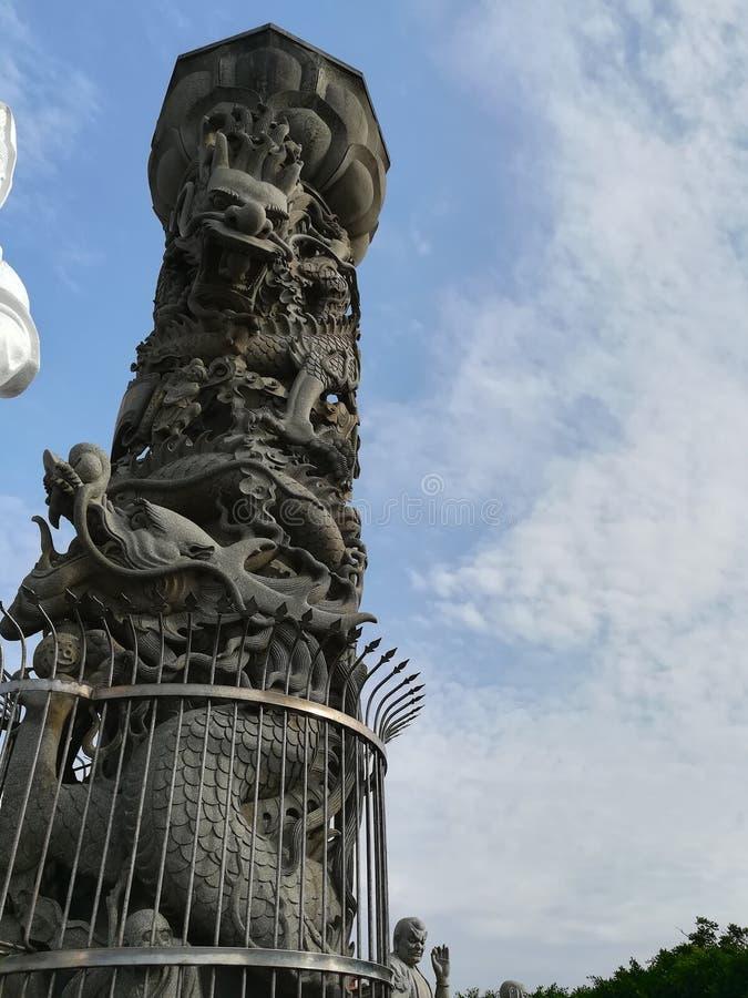 Dragon pillar. In somwhere temple in Taiwan stock photos