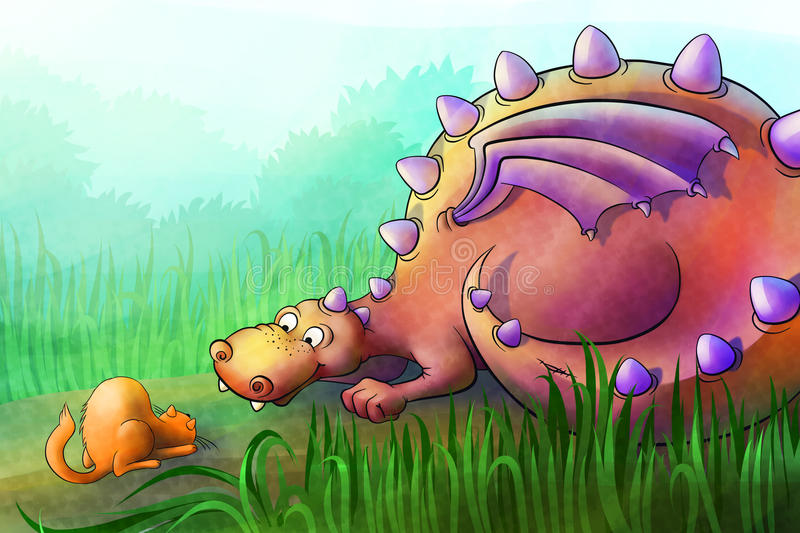 Download Dragon Plays With Cat In The Field Stock Illustration - Illustration: 37998359