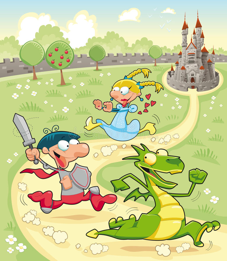 Dragon, Prince and Princess with background vector illustration