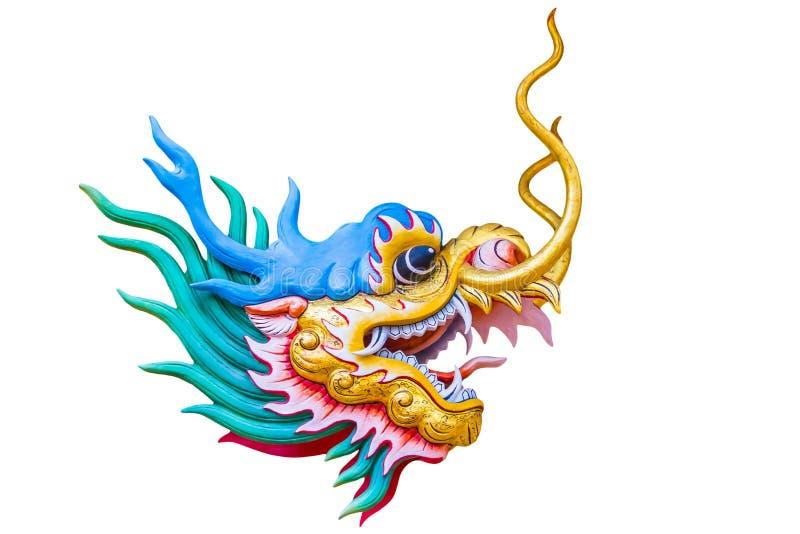 Dragon principal d'isolement sur le fond blanc photographie stock libre de droits
