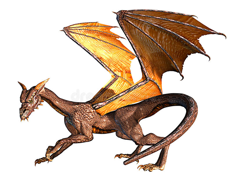 Dragon ready fly and to attack. The fantasy dragon is ready to fly and to attack stock illustration