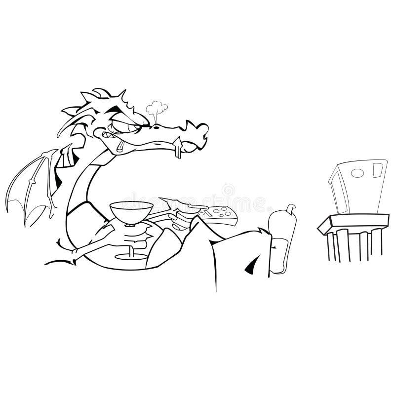 Dragon regardant la TV illustration stock