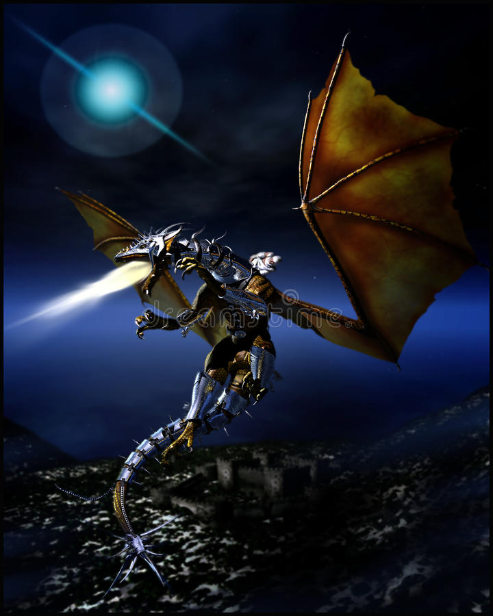 Dragon Rider. Woman dressed in white robes riding a armor clad flame breathing dragon to battle flying high in the night sky