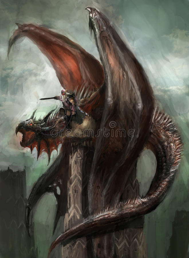 Download Dragon rider stock illustration. Image of mitology, flying - 40933401