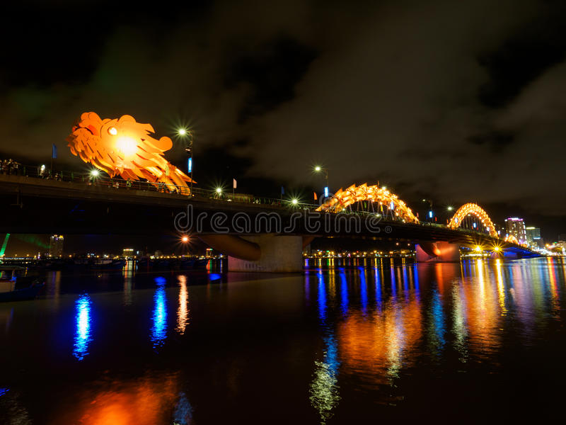 Dragon River Bridge in Da Nang. Night view of Dragon River Bridge in Da Nang, Vietnam.n royalty free stock image