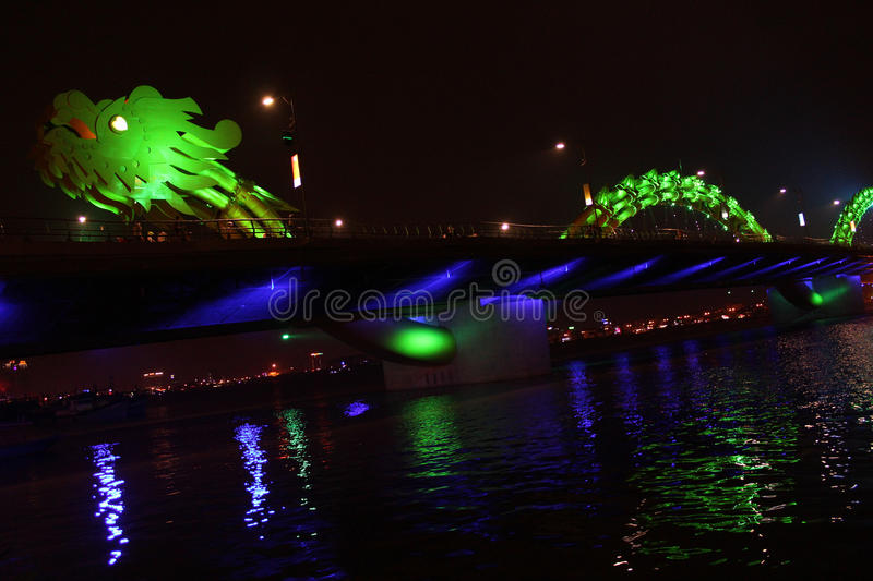 Dragon River Bridge in Da Nang, Vietnam, Asia. Night view of Dragon River Bridge in Da Nang, Vietnam stock images