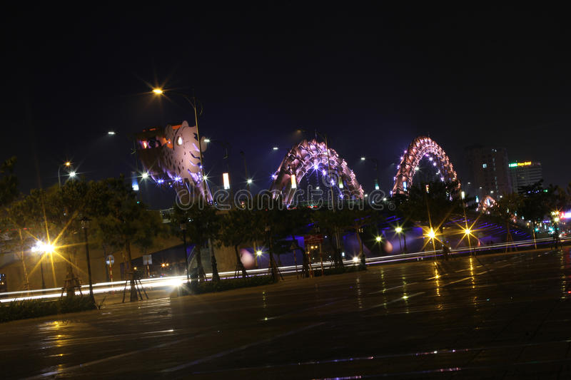 Dragon River Bridge in Da Nang, Vietnam, Asia. Night view of Dragon River Bridge in Da Nang, Vietnam stock photography