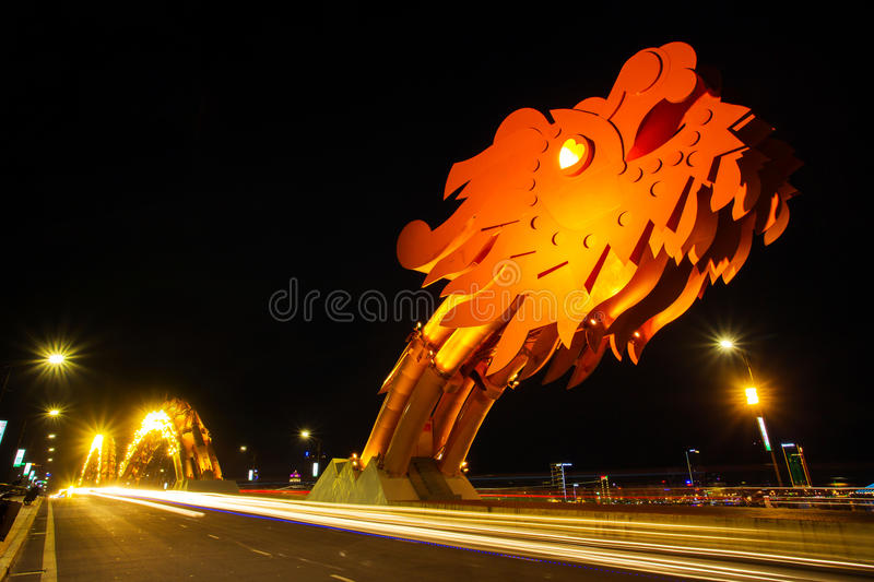 Dragon River Bridge ( Rong Bridge) in Da Nang. Vietnam stock image