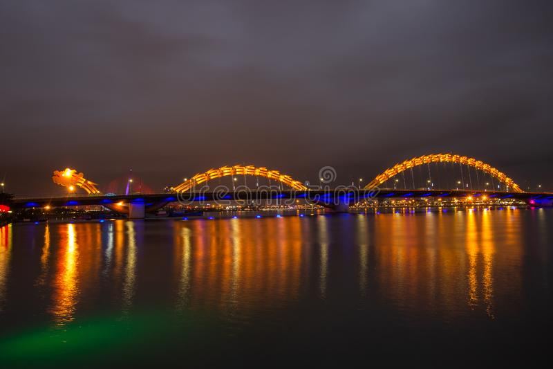 Love Bridge and Dragon River Bridge Rong Bridge in Da Nang. Dragon River Bridge Rong Bridge in Da Nang, Vietnam stock photography