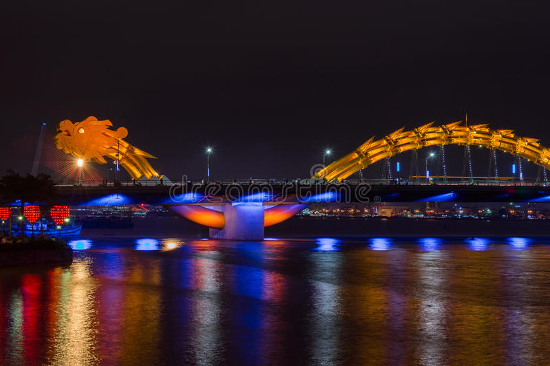Dragon River Bridge. Rong Bridge in Da Nang, Vietnam stock photography