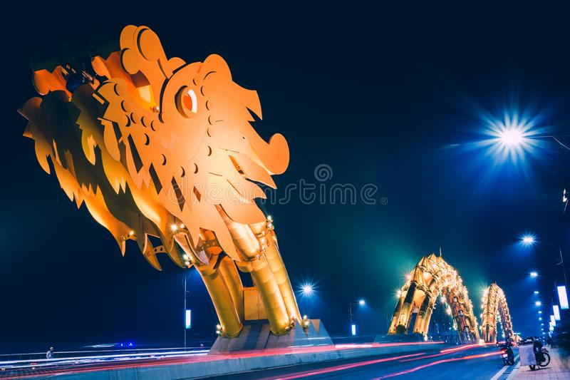 Dragon River Bridge. Rong Bridge at dusk in Da Nang, Vietnam royalty free stock photos
