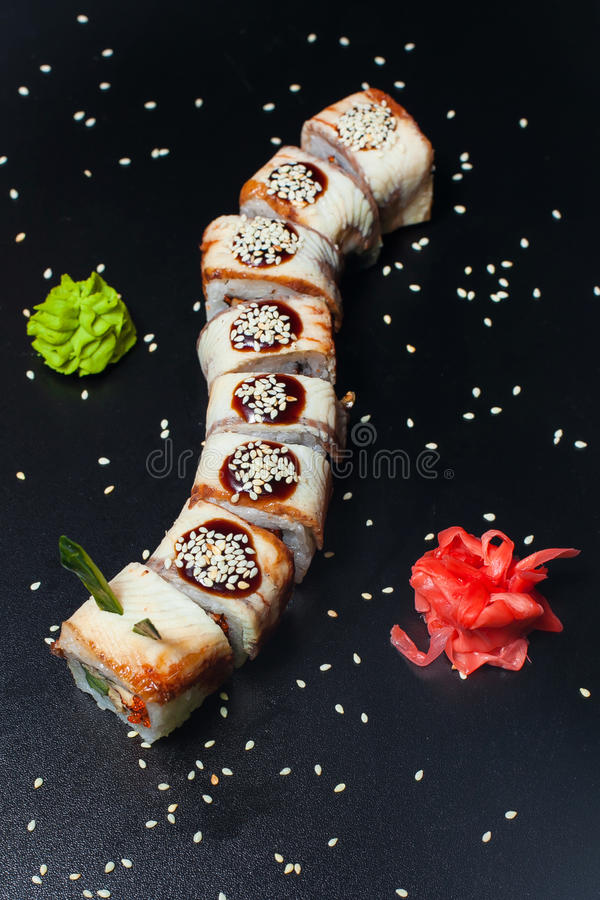 Dragon Roll with eel royalty free stock photography