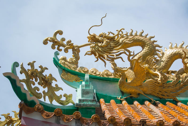 Dragon on roof stock image