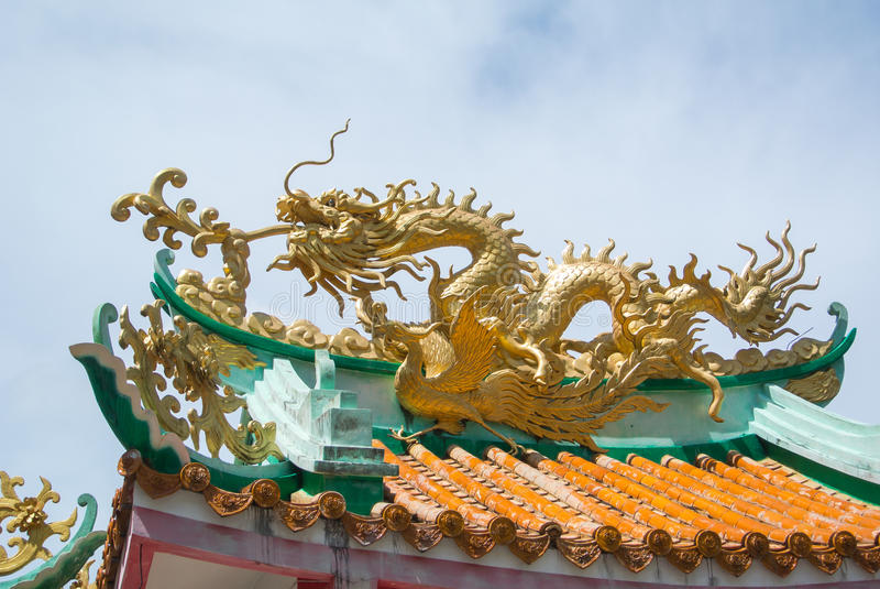 Dragon on roof stock photography