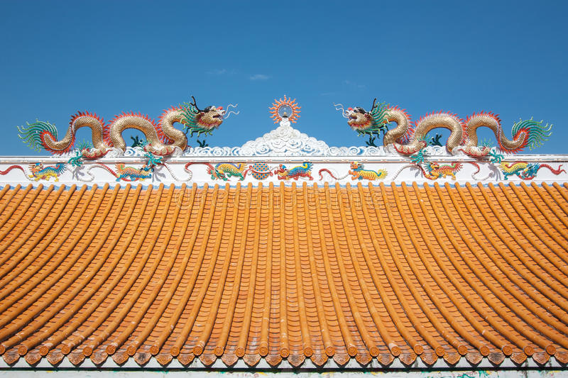 Dragon on the roof. stock images