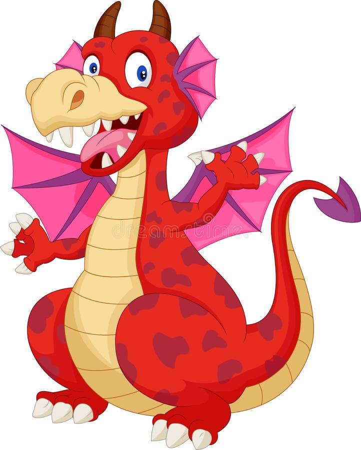 Dragon rouge de bande dessinée illustration de vecteur