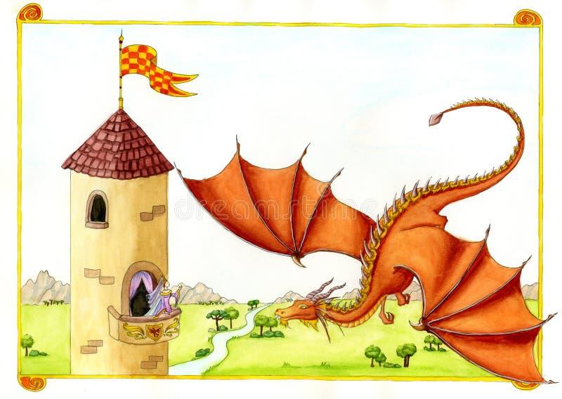 Dragon rouge devant le château illustration stock