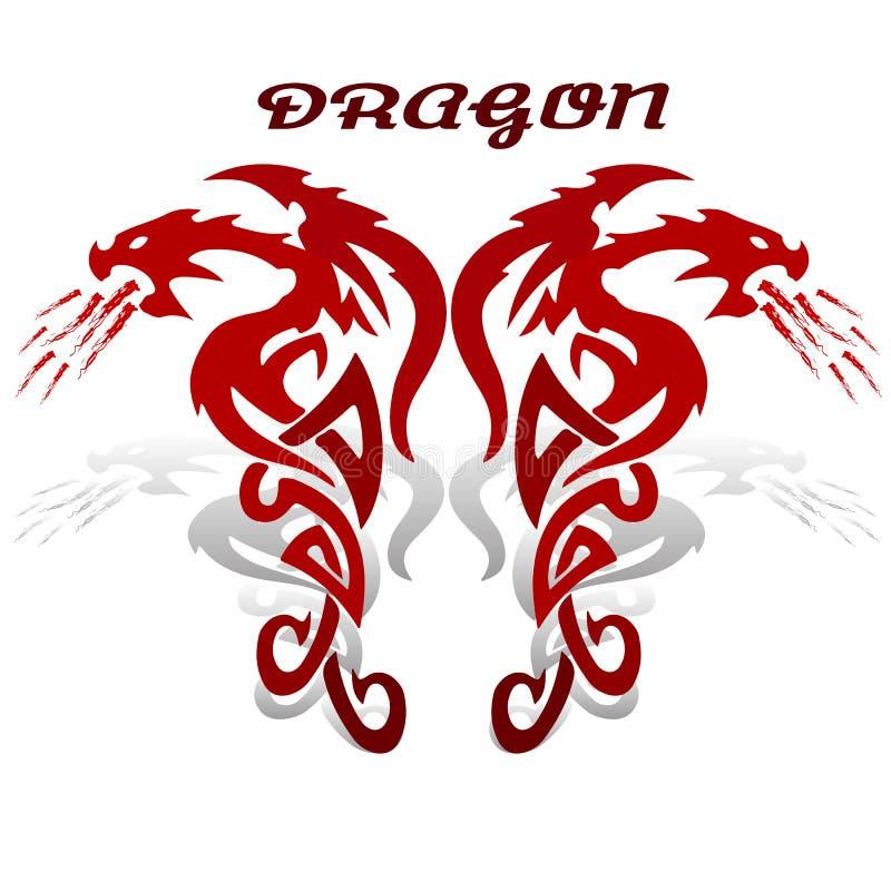 Dragon rouge mythologique antique, symbole astrologique ardent sur le wh illustration de vecteur