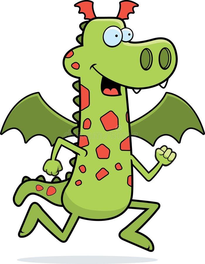 Dragon Running. A cartoon dragon running and smiling royalty free illustration