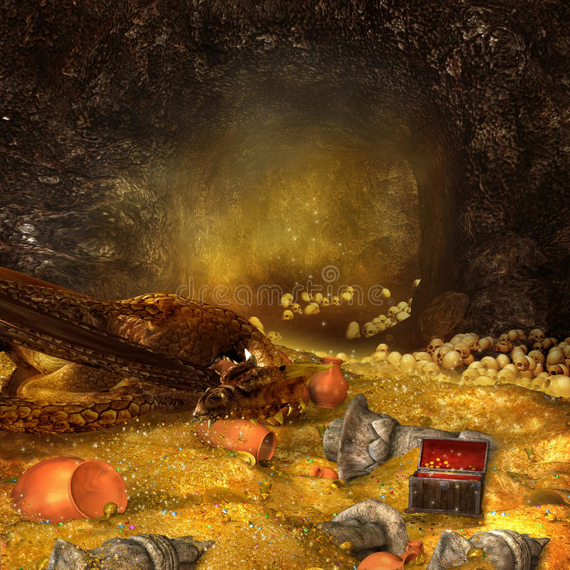 Dragon's cave. Fantasy mountain cave with a heap of gold and sleeping dragon vector illustration