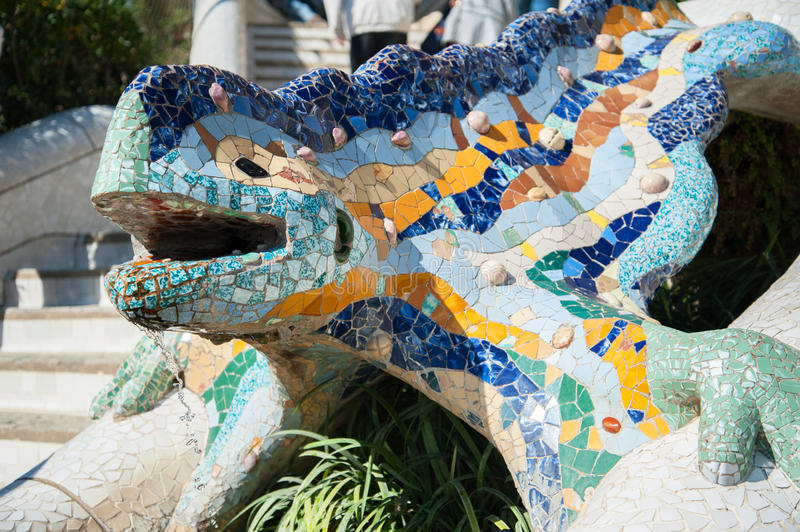 Dragon salamandra of gaudi mosaic editorial stock photo for Salamandra barcelona